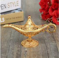 Il più nuovo metallo scolpito Aladdin Lampada Luce Wishing Tea Oil Pot Decorazione Collezione da collezione regalo di artigianato di risparmio