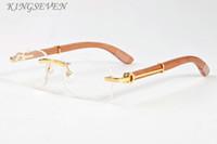 نظارات أزياء النظارات الشمسية الخيزران الخشب للرجال 2020 الاستقطاب نظارات بدون إطار قرن الجاموس الرمادية عدسة أسود واضحة مع الدعوى الأصلية
