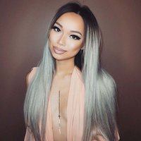 Middle Part Ombre Hair Wig Brazilian 1B Grey full lace Wig W...