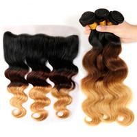 Extensions Ombre 1b / 4/27 Vague Virgin Virgin Brésilienne Cheveux humains 3 Bundles avec dentelle Frontale 13x4 Colorée Blonde Blonde Bundles avec fermeture