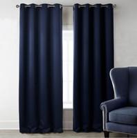 2 لوحات نافذة الستائر الحرارية معزول لوحة تعتيم الستار الحلقات الصلبة ستائر البحرية الأزرق لغرفة النوم غرف المعيشة