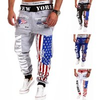 America Flag Pattern Male Sweatpants High Quality Plus Size ...