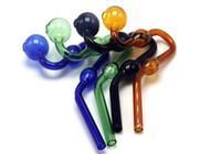 Bunte Glasrohr Curved Rauchpfeifen Glaspfeifen Recycler Top-Öl-Brenner Dab Rig Bongs Glas Wasserrohr Freies Verschiffen
