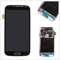 pas de logo LCD écran tactile Digitizer avec cadre noir pour Galaxy S4 i9500