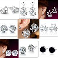 Orecchini in argento 925 a cristallo naturale Orecchini in argento sterling per orecchini a cuore in argento sterling di moda per le donne Orecchini con cuore a forma di cuore
