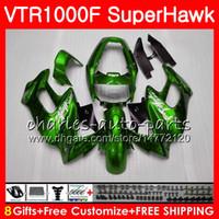 HONDA SuperHawk 용 바디 글로시 그린 VTR1000F 1997 1998 1999 2000 2002 2003 2004 2005 91NO85 VTR 1000F 97 98 99 00 01 02 03 04 05 페어링