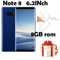 6.2HD Note8 Telefono 1GB Ram 8GB Rom Smart Phone MTK6580A Quad Core Telefono cellulare 1280 * 720 8MP Rear Camera Sealed Box mostra 4G 64G 4G LTE