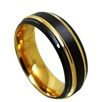 Populaire 8mm halve ronde borstel zwart en geel vergulde wolfraam carbide ring mode-sieraden vinger ring voor mannen