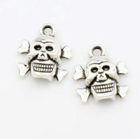 Halloween Skull Charm Beads 200 stks / partij 14.5x12.9mm Antiek Zilver Hangers Fit Europese Charme Armbanden Sieraden DIY L975