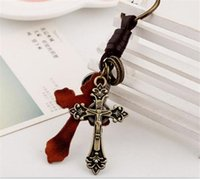50pcs Retro Punk Style Leather Alloy Christian Cross Keychai...