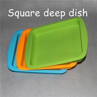 """Vassoi profondi per vaschette in silicone da 2 pezzi, forma quadrata 8 """"X8"""" Contenitori concentrici in silicone per alimenti al 100%, vassoio quadrato in silicone"""