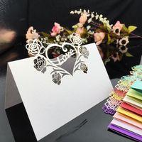 200 pcs laser corte oco coração amor rosa flor mesa cartão número cartão cartão lugar cartão para casamento decorar