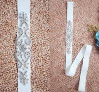 2017 nouveau strass cristal perlé robe de mariée casquettes vraies images blanche beige ceinture de mariage bon marché