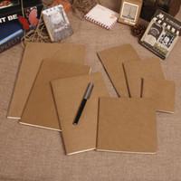 Atacado-papel de couro do notebook em branco bloco de notas do livro do vintage macio caderno diário memos Kraft capa caderno cadernos