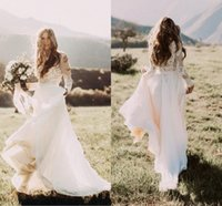2017 Cheap Bohemian Country Wedding Dresses Sheer Long Sleev...