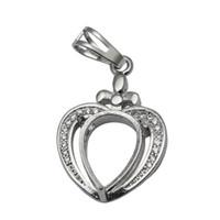 Collar de plata esterlina Beadsnice colgante bandeja en forma de corazón cabujón en blanco regalo para los mejores amigos ID 34052