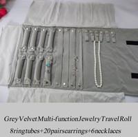 EMS LIBRE BLK Grande BlackGray Velvet Jewelry Roll Anillo Pendiente Organizador Holder Mujeres Bolsa de Viaje Bolsa