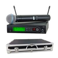 Sahne için bir alüminyum kasa kutusu ile !!! UHF Pro Kablosuz Çift Mikrofon Sistemi SLX24 / Beta58 58A KTV Karaoke DJ Için Cordsuz Mic