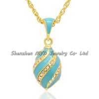 Joyas de mujer con estilo collar de alta calidad de colores esmaltados remolinos de cristal niñas estilo ruso Faberge colgantes de huevo para damas