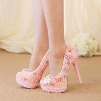 Ślub High Heel Buty Gorgeous Design Crystal Sukienka Bridal Sukienka Buty Różowy Kolor Pearl Koronki Kwiat Platforma Urodziny Pompy Party