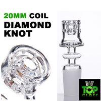최신 도매 더블 스택 스태커 다이아몬드 매듭 석영 Enail Domeless 14분의 10 / 19mm 젖빛 남성 여성 Joint.For 20mm의 가열 코일.