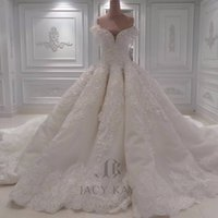 Luxury Ball Gown Arabic Wedding Dresses Off Shoulder 3D- Flor...