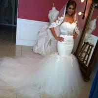 2020 Sexy Mermaid Wedding Dress Sweetheart Off Shoulder With Crystal Sash Appliques Lace Sweep Train Bridal Gowns Vestidos De Novia