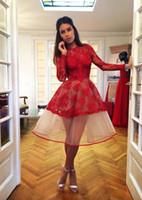 2018 New Red maniche lunghe in pizzo abiti da cocktail maniche lunghe in organza lunghezza del ginocchio una linea brevi abiti da ballo