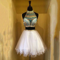 White Two Piece Homecoming Dresses High Neck Halter Crystal ...