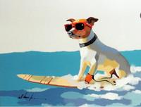 Surfer Dog Terrier Surfboard Dark Bril Too Cool Pure Handgeschilderd Moderne Dierlijke Wall Art Olieverf op Canvas Multi Maten JN071