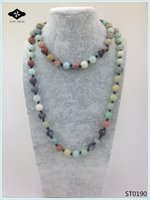 ST0190 32 inches Long Necklace Knotted Stone Amazonite Jaspe...