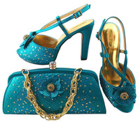 Elegant 11CM Handbag Match Shoes Bags With Teal For Decoration African And MM1040,heel Set Flower Series Dress Rhinestones Onbop