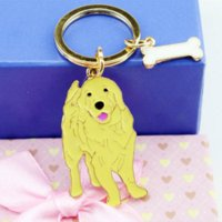Golden Retriever PET Key Chain Women Luxury Metal Car Keycha...