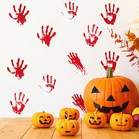 1 компл. 36 шт. Хэллоуин красные отпечатки рук стикер стены страшно главная партия украшения DIY Кровавая печать ладони съемные наклейки