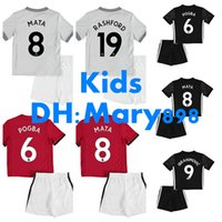 17 18 enfants rouge à la maison black soccer Jersey Kits 2017 Ibrahimovic MATA MARTIAL ROONEY POGBA RASHFORD enfant jeunesse Football Shirt
