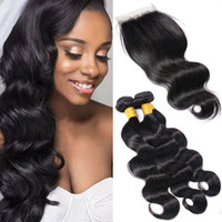 Indian Body Waves Lace Closure With 3 Bundle Double Drawn We...