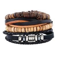 Modeschmuck PU gewebt Leder Hanfseil Armbänder Männer Holz Perlen Legierung Armband Sets Vintage Persönlichkeit Rock Punk Armband BH012