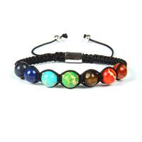 Bijoux Shambhala Bracelet 10 Pieces En gros 8mm Perles naturelles Pierre 7 Chakra Healing Yoga Pierre méditation Bracelets macramé