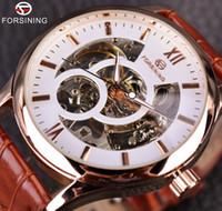2019 NEU! Forsining Rose Gold Design Braun Herrenuhr Top-Marke Luxus Erkek Saat Skeleton Mechanische Uhr Männliche Uhr Relogio Montre Homme