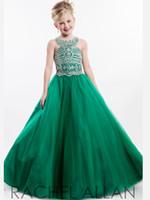 Rachel Allan Girl's Pageant Robes Robes Green Halter Décolleté Collèdements Cristaux Cristaux Plancher Longueur A Ligne Formel Filles Robes pour enfants HY00899
