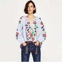 2017 new Bule stripe female blouses casual floral embroidere...