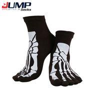 Wholesale- 2015 Punk Rock Men's Toe Socks Skull Design Hip Hop Cotton Sock Five Fingers