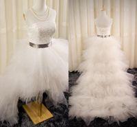 Custom High Low Wedding Dresses 2016 Sexy Bling Pearls Lace Strapless Elegante Ivory A Line Tiered Layers Backless Beach Corset Vestidos de novia