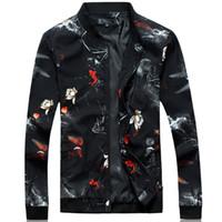M-6XL 2017 autunno primavera giacca floreale uomo casual capispalla giacche e cappotti moda fiore di marca di abbigliamento di stampa