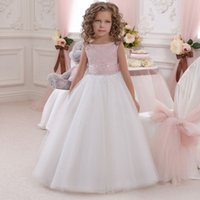 2017 Pink Flower Girl Dresses Scoop sem mangas Comprimento do assoalho Tulle Knitted Boho Kids Wedding Party Robe De Soiree