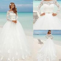 Belle plage manches longues robe robe de mariée robe de mariée encolure de bateau dentelle floral ajusté tondes tondes été brique de mariée pas cher arabe bohème pays