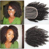 Peruvian afro kinky curly lace closure with baby hair free m...