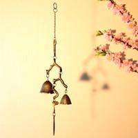 2 أجزاء النمط الياباني الحديد الزهر فرع الرياح الدقات الرئيسية حديقة فناء في شنقا المعادن يندشيميس بيل ديكور خمر هدية الحرف