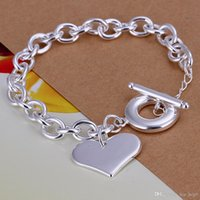 Herz-Charme-Rolo-Kettenarmband-Armband-925 Sterlingsilber-Schmucksache-Silber überzogene Panzerkette Link Toggle-Klammer Armband Geschenk für Liebhaber