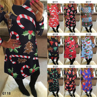Hot sale Christmas Snowman Dresses Women Long Sleeve Print S...